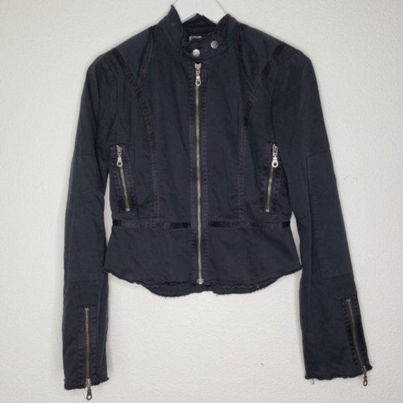 Joie Jackets & Blazers - Joie Black Canvas Zipper Cuff Military Jac…
